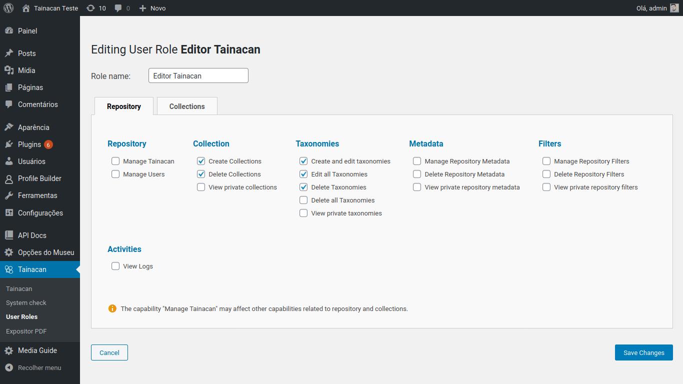 Tela de Configuração de uma Função de Usuário, aba Repositório
